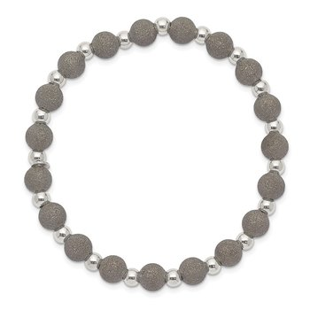 Sterling Silver Ruthenium-plated Laser Cut Bead Stretch Bracelet