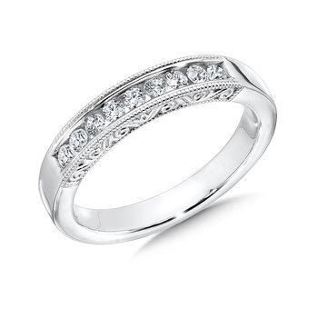 Diamond Wedding Band with side engraving in 14k White Gold (0.28ct. tw.) JK/I1