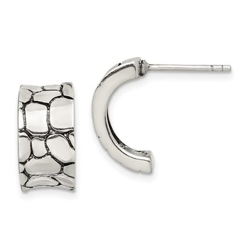 Sterling Silver Rock Pattern Concave Post Earrings