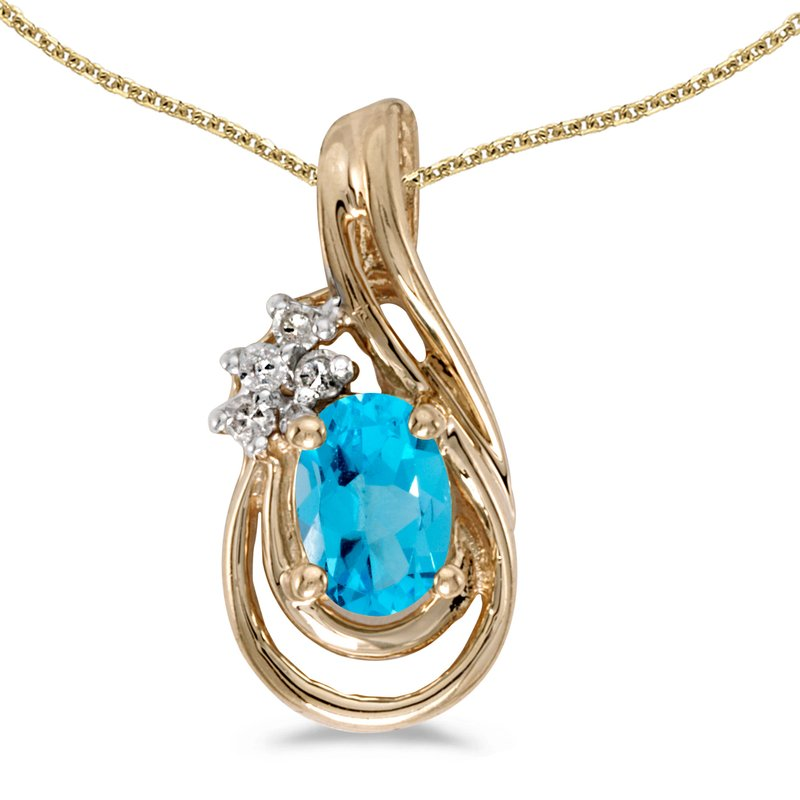 Color Merchants 14k Yellow Gold Oval Blue Topaz And Diamond Teardrop Pendant
