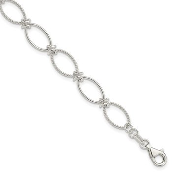 Sterling Silver Polished Textured Fancy Oval Link Bracelet