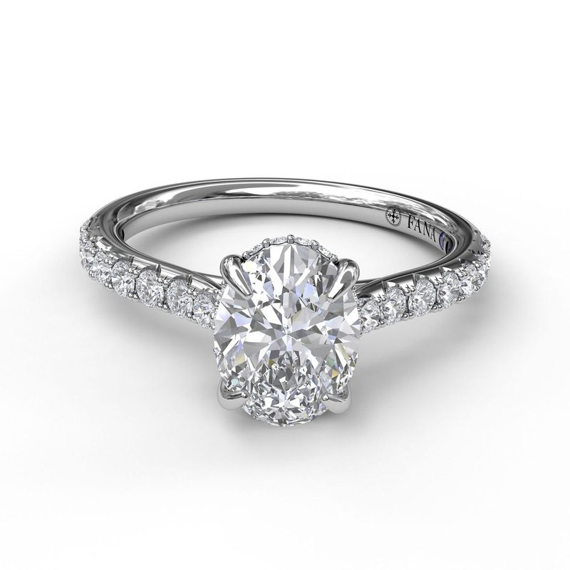 Fana Classic Oval Cut Solitaire With Hidden Halo