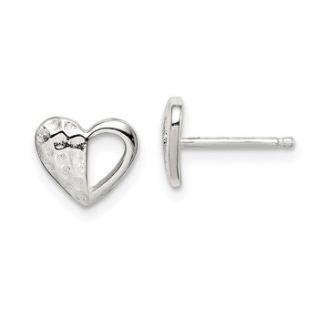 Sterling Silver Hammered Heart Post Earrings