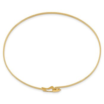 14K Brushed and Polished Stars Flexible Bangle