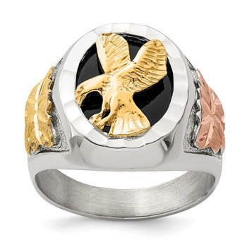 Sterling Silver & 12k Antiqued Eagle Men's Ring
