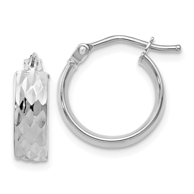 Leslie's Leslie's 14k White Gold Polished and Diamond-cut Hoop Earrings