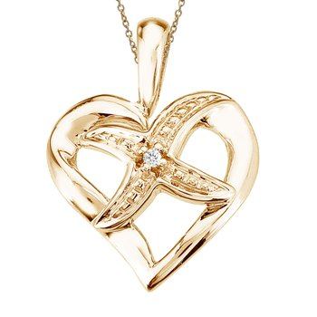 14K Yellow Gold Diamond Fashion Heart Star Pendant