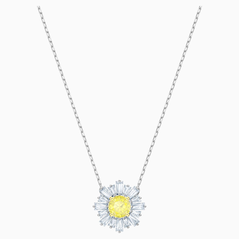 Sunshine Pendant, Yellow, Rhodium plated