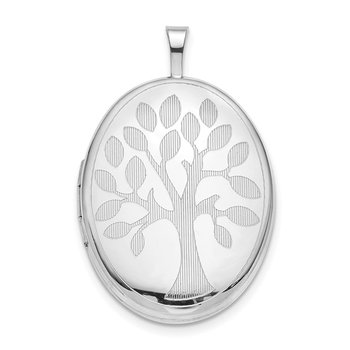 Sterling Silver Rhodium-plated 20mm Tree Oval Locket