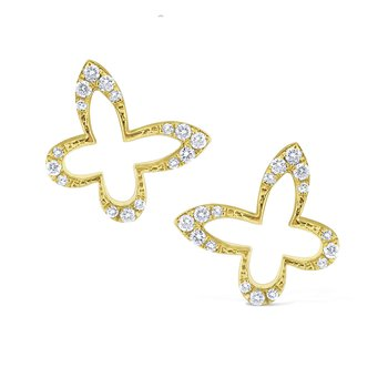 Diamond Butterfly Outline Stud Earrings Set in 14 Kt. Gold