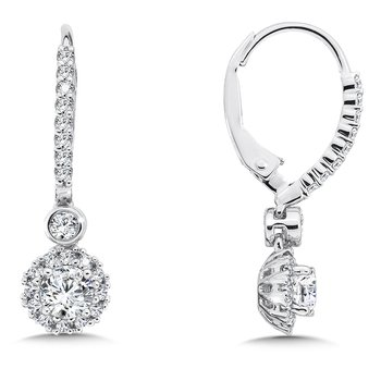 Diamond Drop Earrings with Round Halo in 14K White Gold with Platinum Post (5/8ct. tw.)