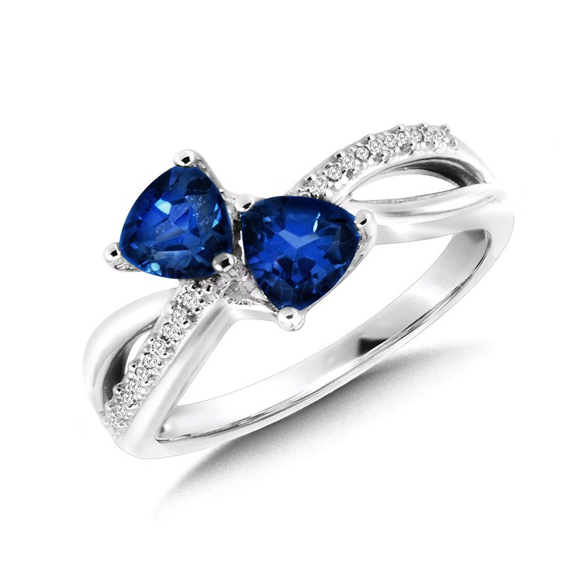 SDC Creations Trillion-Cut  Created Sapphire and Diamond Criss-Cross Ring