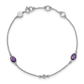 SS White Ice Amethyst and .01 ct Diamond Bracelet