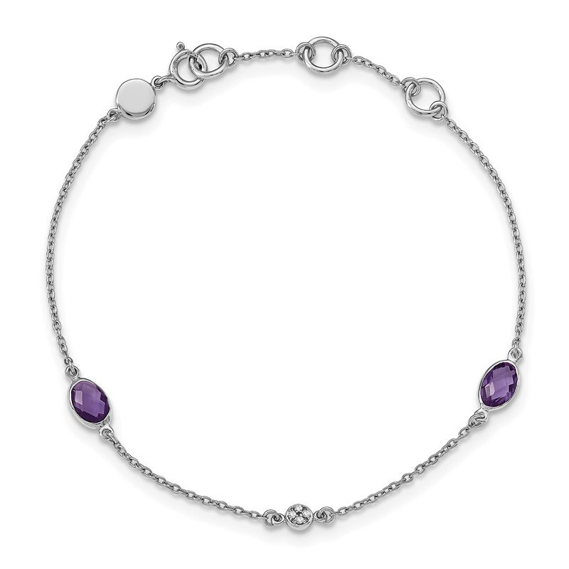 Quality Gold SS White Ice Amethyst and .01 ct Diamond Bracelet