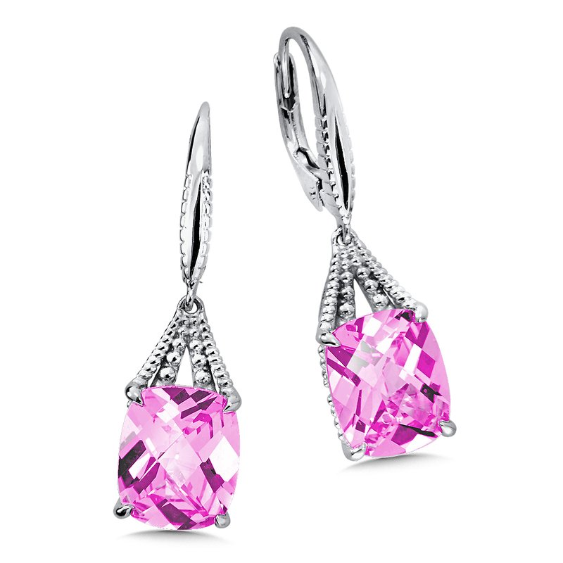 Colore Sg Sterling Silver Pink Sapphire Leverback Earrings