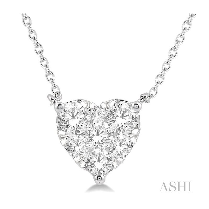 ASHI heart shape lovebright essential diamond necklace