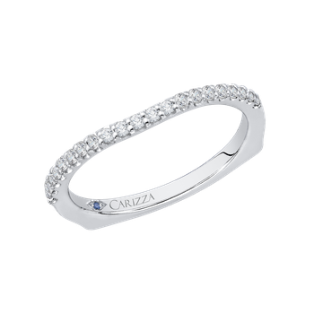 Round Diamond Wedding Band with Euro Shank In 18K White Gold
