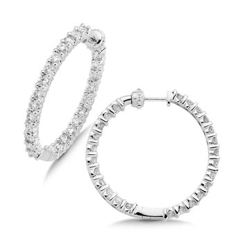 Pave set Diamond Reflection Hoops in 14k White Gold (4ct. tw.) GH/SI1-SI2