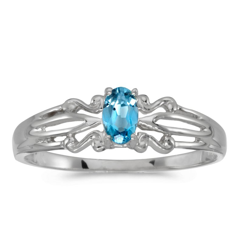 Color Merchants 14k White Gold Oval Blue Topaz Ring