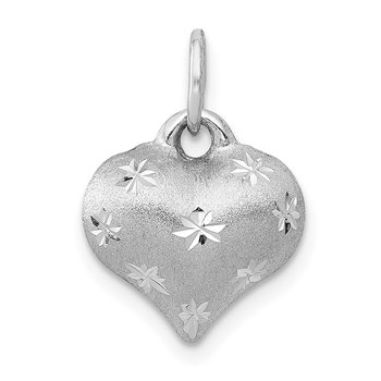 14k White Gold Satin Diamond-cut 3D Puffed Heart Pendant