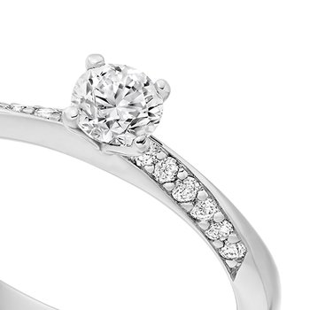 Solitaire with Diamond Set Shoulders