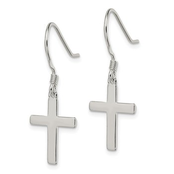 Sterling Silver Polished Cross Dangle Earrings