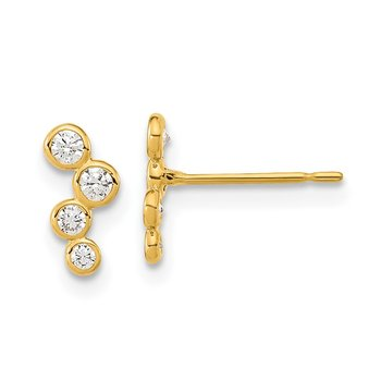 14k Madi K 4-CZ Bezel Set Post Earrings