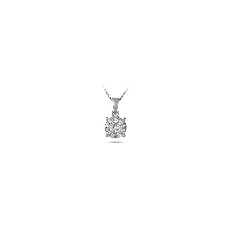 BB Impex 14K WG Diamond Galaxy Pendant in Prong Setting