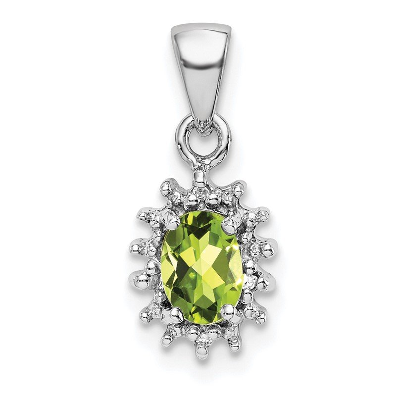 Quality Gold Sterling Silver Rhodium Peridot & Diamond Pendant
