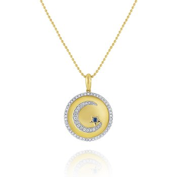 Diamond & Blue Sapphire Crescent Moon & Star Medallion Necklace Set in 14 Kt. Gold