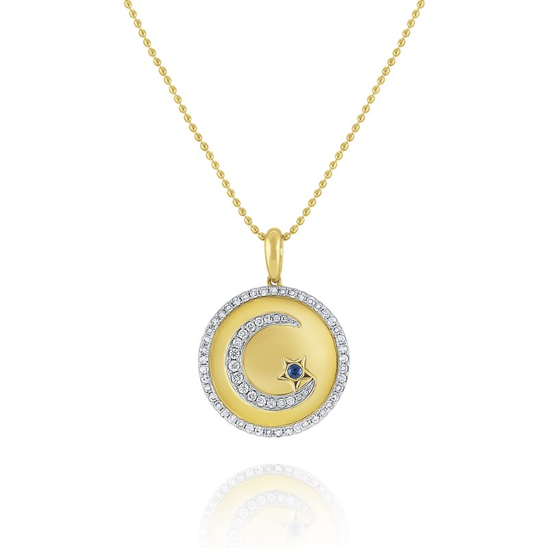 KC Designs Diamond & Blue Sapphire Crescent Moon & Star Medallion Necklace Set in 14 Kt. Gold