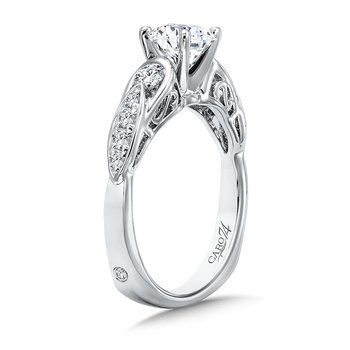 Inspired Vintage Collection Engagement Ring With Diamond Side Stones in 14K White Gold with Platinum Head (3/4ct. tw.)