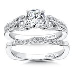 Caro74 Inspired Vintage Collection Engagement Ring With Diamond Side Stones in 14K White Gold with Platinum Head (3/4ct. tw.)
