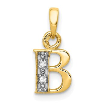 14KY with Rhodium Diamond Letter B Initial Pendant