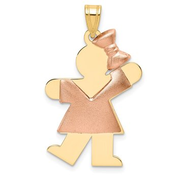 14k Two-Tone Puffed Girl with Bow on Right Engravable Charm