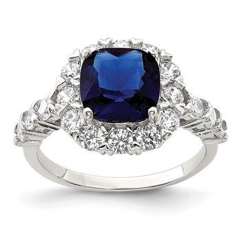 Sterling Silver Rhodium-plated Polished Blue Glass and CZ Ring