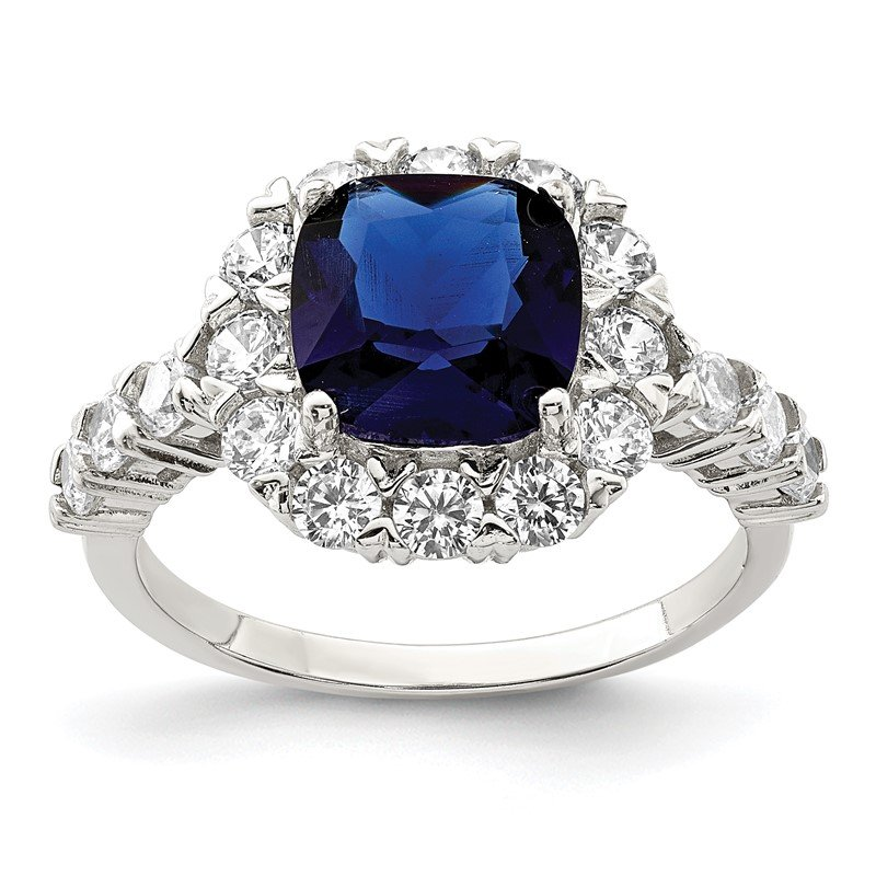 Quality Gold Sterling Silver Rhodium-plated Polished Blue Glass and CZ Ring
