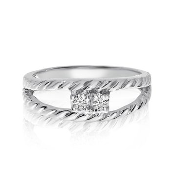 14K White Gold Braided Two-Stone Diamond Ring