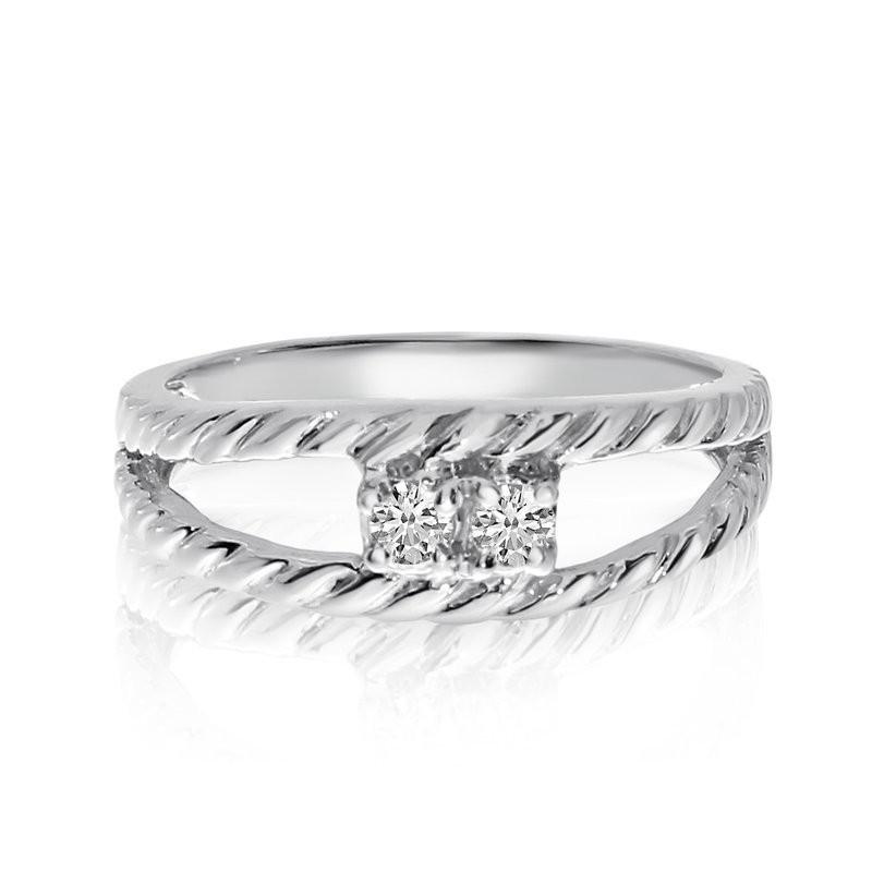 Color Merchants 14K White Gold Braided Two-Stone Diamond Ring