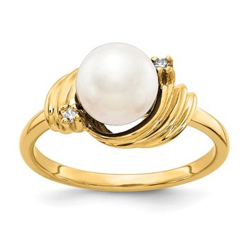 14k 7mm FW Cultured Pearl AA Diamond ring