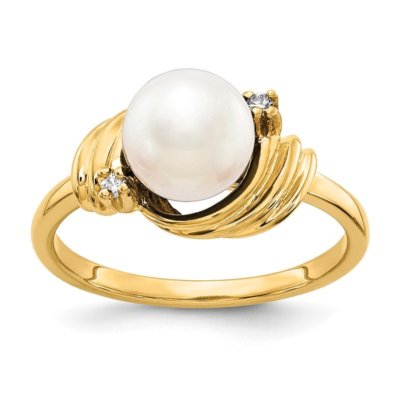 Lester Martin Online Collection 14k 7mm FW Cultured Pearl AA Diamond ring