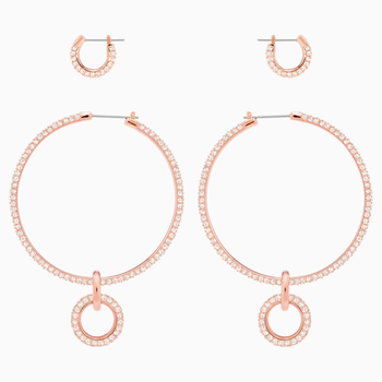 Stone Pierced Earring Set, Pink, Rose-gold tone plated