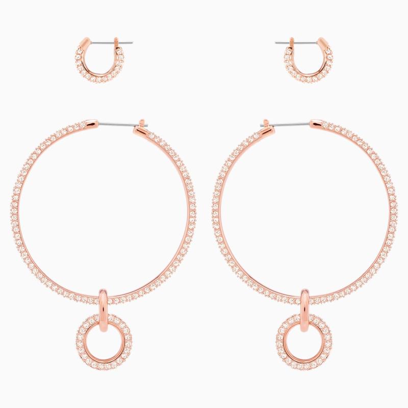 Swarovski Stone Pierced Earring Set Pink Rose Gold Tone Plated Savoy S Jewellers