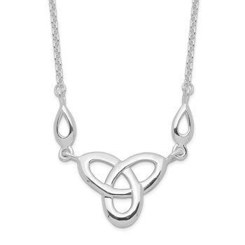 Sterling Silver Rhodium-plated Celtic Knot w/1.5in Ext Necklace