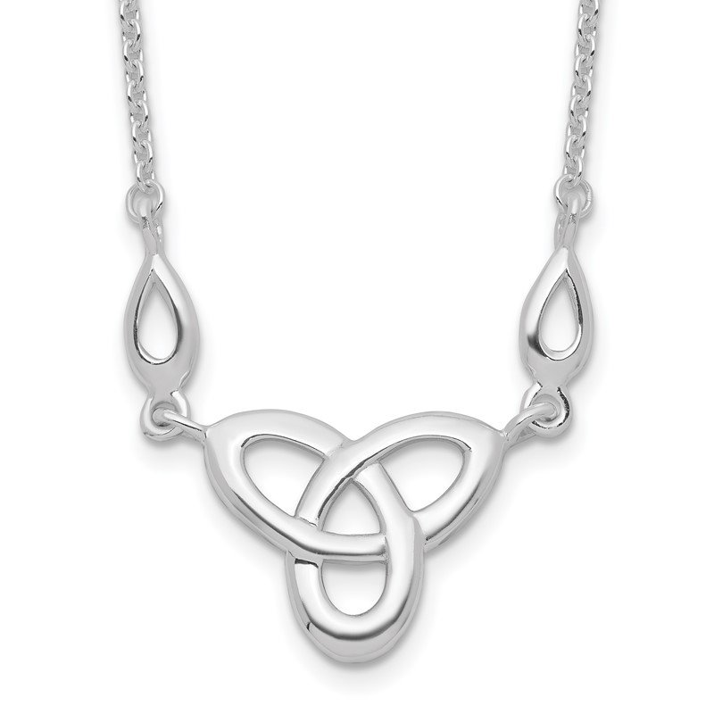 Quality Gold Sterling Silver Rhodium-plated Celtic Knot w/1.5in Ext Necklace