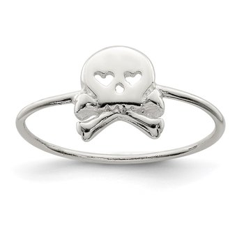 Sterling Silver Polished Skull & Crossbones Ring