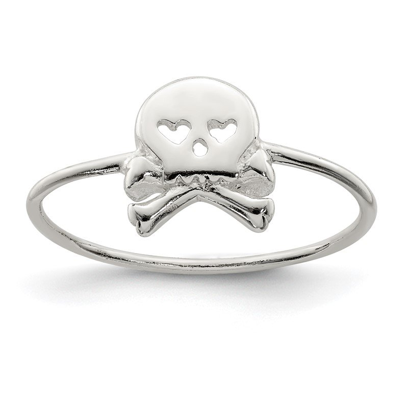 Quality Gold Sterling Silver Polished Skull & Crossbones Ring