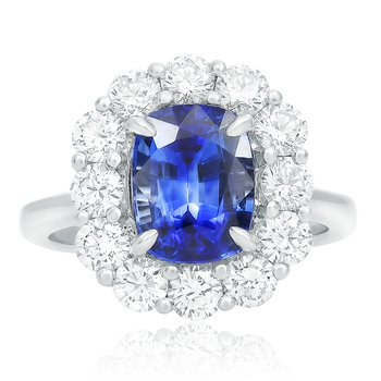 Flowering Halo Sapphire Ring