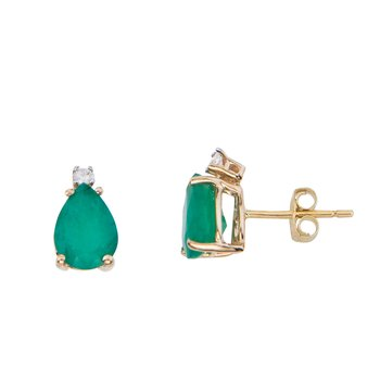 14k Yellow Gold Pear Shape Emerald And Diamond Earrings