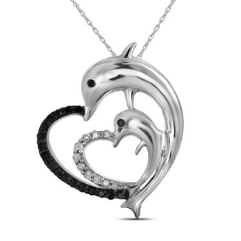 10kt White Gold Womens Round Black Color Enhanced Diamond Dolphin Heart Pendant 1/8 Cttw